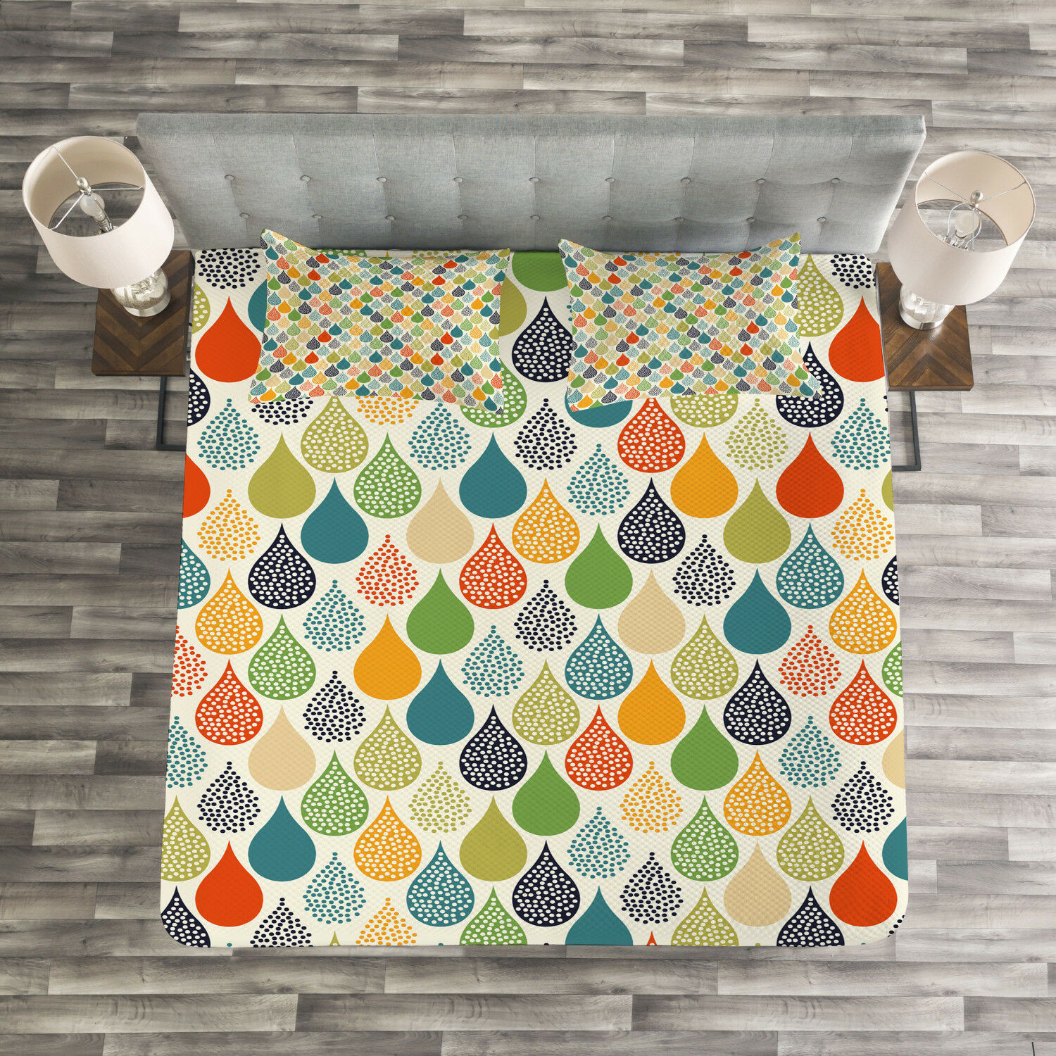 Abstract Quilted Bedspread & Pillow Shams Set, colorful Large Drops Print