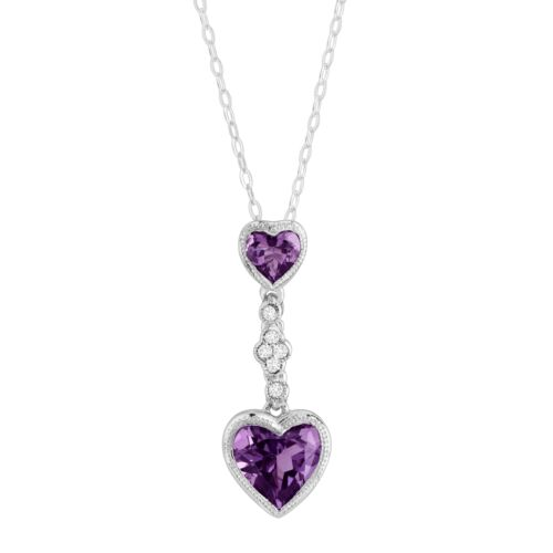 Sterling Silver Natural Amethyst Double Heart Pendant w Created White Sapphires