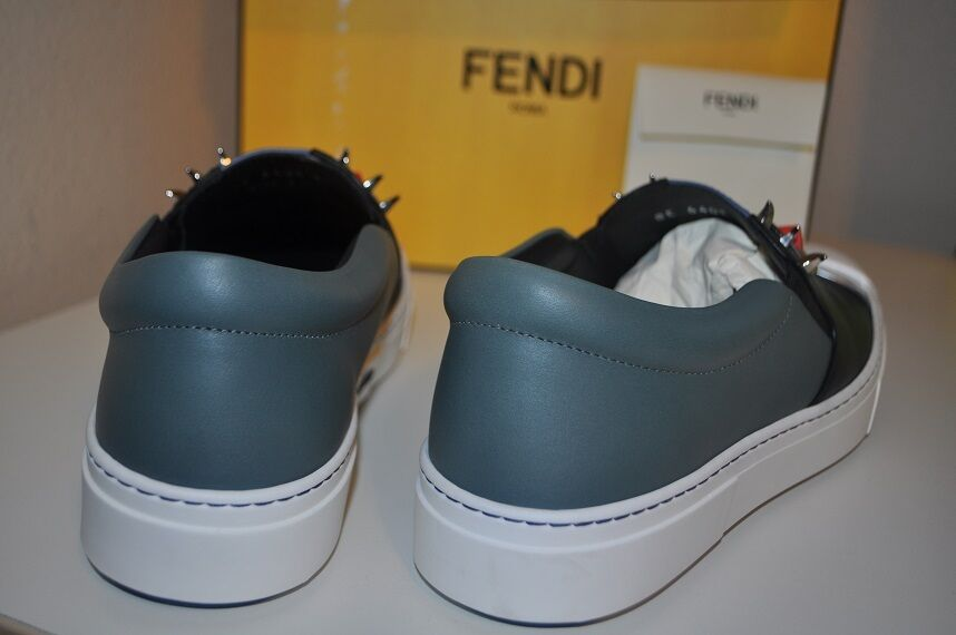 NIB FENDI Monster Monster Monster Faces Studded Slip On Round Toe Skate scarpe da ginnastica scarpe 40 - 10 a996a0