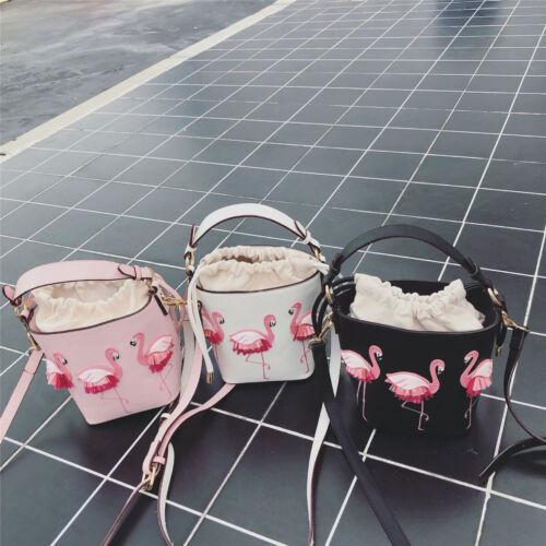 Women Flamingos Leather Bucket Satchel Crossbody Shoulder Bag Travel