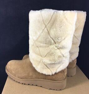 Ugg Ariella Luxe Diamond Suede Sheepskin Wedge Boots