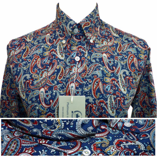 Relco Mens Blue Paisley Platinum Long Sleeve Shirt Button Down Collar Mod Retro