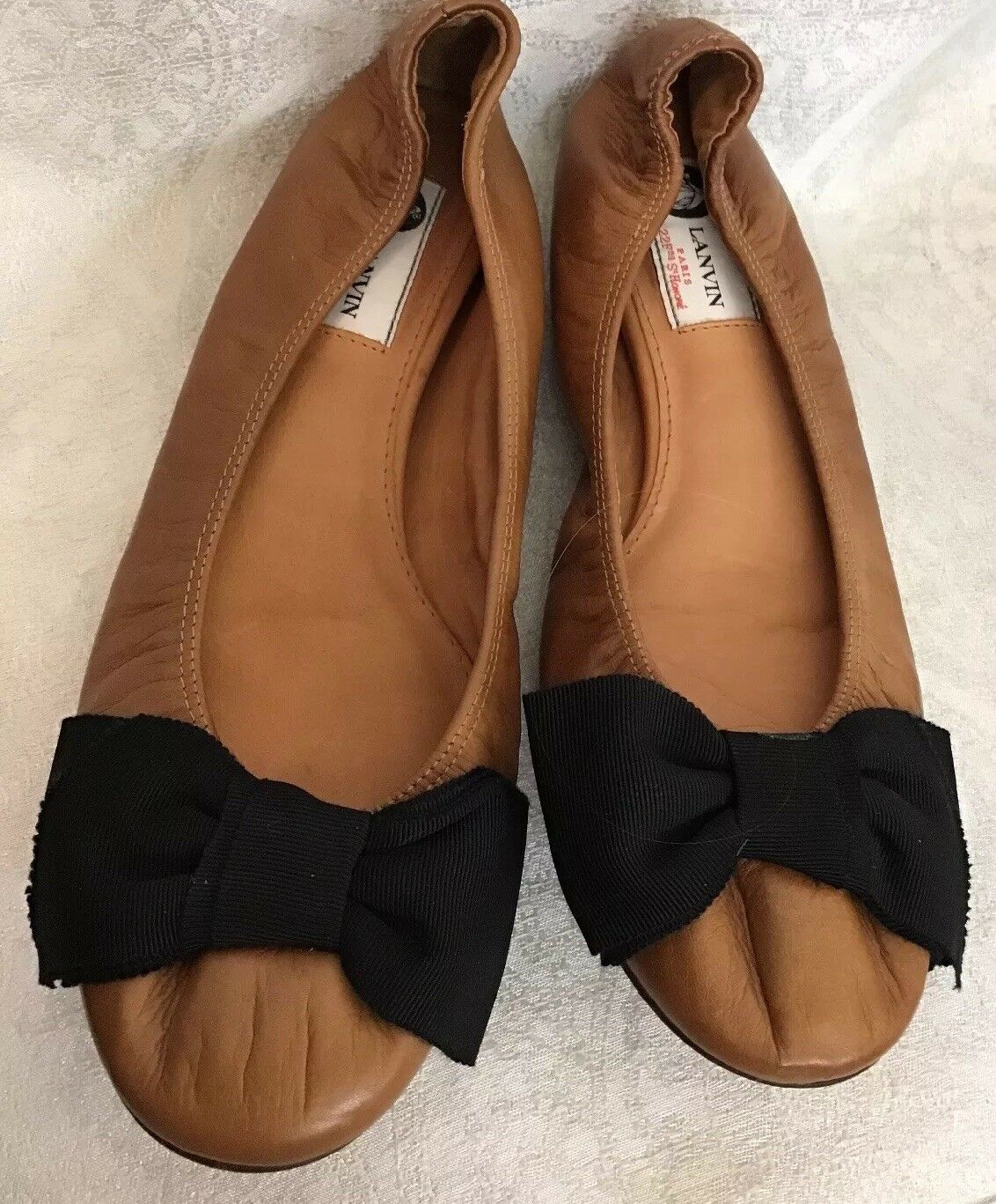 Lanvin Shoe Caramel Leather Flat Black File Bow 8.50 Size 40 Fits Size 8.50 Bow -9 7a2447