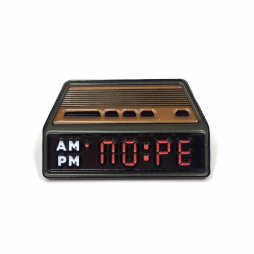 NOPE Alarm Clock Sleep Nap Lazy Heady Enamel Festival Hat and Lapel Pin Badge