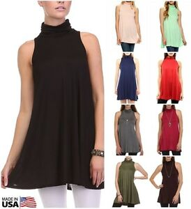be52919707e2 USA Women Solid Mock Neck Turtleneck Tunic Top Sleeveless A-line ...