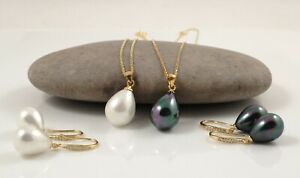 White Black Seashell Pearl Pendant & Gold-plated Sterling Silver Chain Earrings