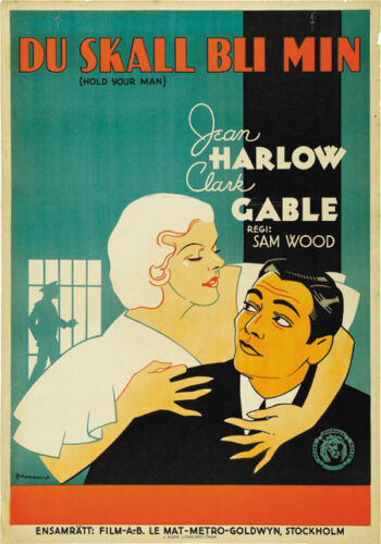 Hold your man Jean Harlow Clark Gable movie poster