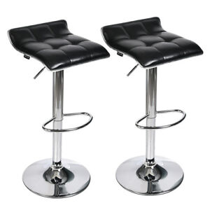 Set-of-2-Counter-Height-Barstool-Leather-Swivel-Table-Dining-Chair-Grid-Seat-Gas