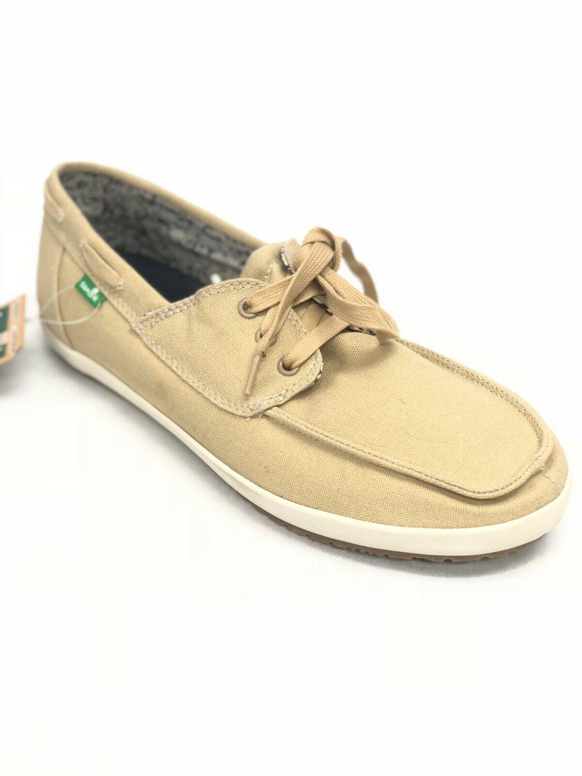 Men/'s Shoes Sanuk Admiral Lace Up Canvas Boat Shoes SMF10627 Black *New*