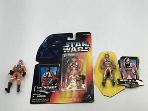 Star Wars POTF Pilots Luke Skywalker Wedge Antilles Biggs Darklighter Lot Moc