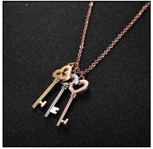 18K Gold Dipped 3 Colour Key Necklace Pendant 21st 18st 16th Birthday Keys