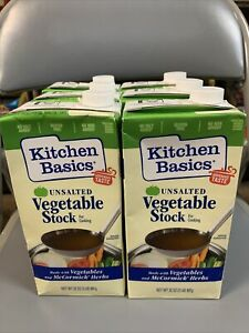 6 Kitchen Basics Unsalted Vegetable Stock For Cooking Gluten Free 32 Oz Exp 8 22 Ebay