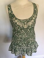 Fat Face Ladies Green Patterned Sleeveless Top Size 8. Great Condition.
