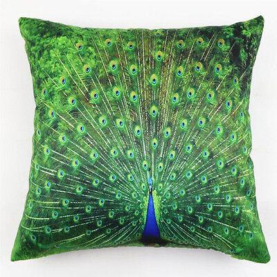 """18X18"""" Decorative Linen Cushion Cover Peacock Pillow Throw Pillowcase Home Decor"""