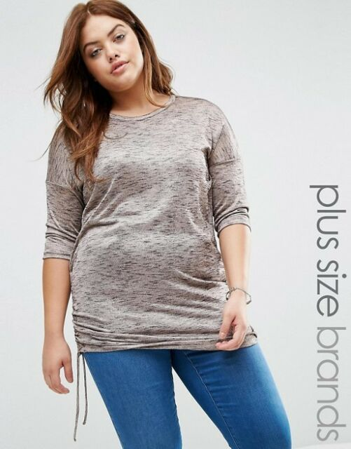 -% NEW LOOK CURVES Nude Metallic Ruched Hem Top with 3/4 Sleeves UK 18-24