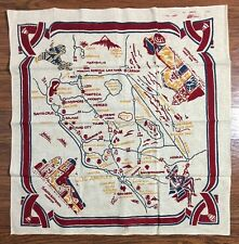 """Vintage California Area Mexican Tablecloth Screen Print on Linen Los Angeles 36"""""""