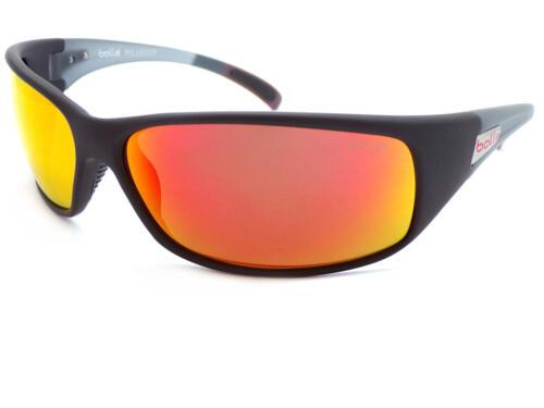 BOLLE RECOIL Polarized Wrap Sunglasses Matte Black// Red Mirror Lenses 12438
