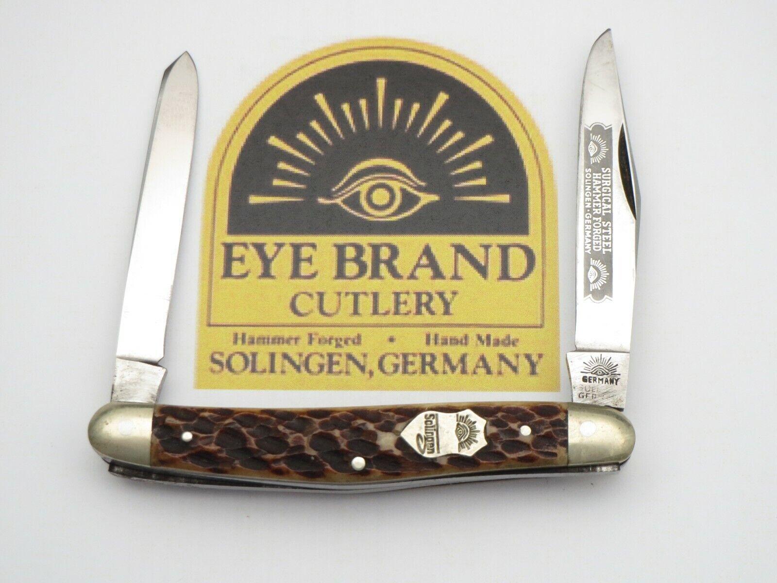 "Vintage EYE BRAND Solingen Scarce ""Small Moose"" Pattern Knife Bone Handles"