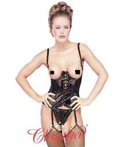 dcacad9b774 SEXY BLACK PVC CUPLESS BASQUE CORSET   THONG LINGERIE SET SIZES ...