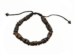Mala Tibetano Braccialetto Perle Teschio Artigianato Fatto Mano Ø 8mm 7898