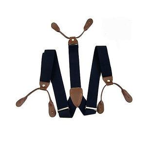 Navy-25mm-Elastic-Mens-Unisex-Braces-Suspender-for-Trousers-Button-Hole-UK-S304