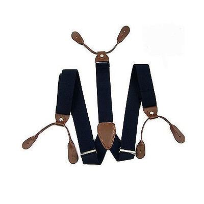 White Mens Braces Button Hole 25mm Adjustable Elastic Trouser Adult Suspenders