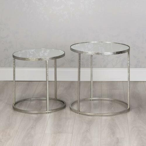 SILVER GLASS /& METAL SET OF 2 ROUND NEST OF SIDE END LAMP COFFEE TABLES GB302