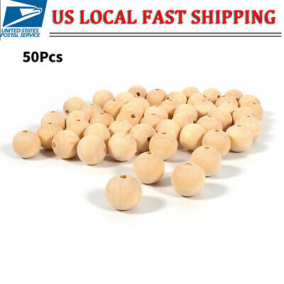 50pcs Unpainted Natural Unfinished Wood Beads Round Spacer Wooden Bead 14mm