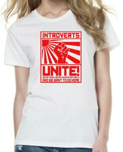 Mens Womens INTROVERTS OF THE WORLD propaganda style funny humour t-shirt