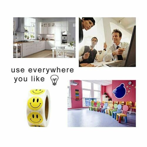 Smiley Face Sticker 500 Pcs//roll for Kids Reward Sticker Yellow Dots Labels Happ
