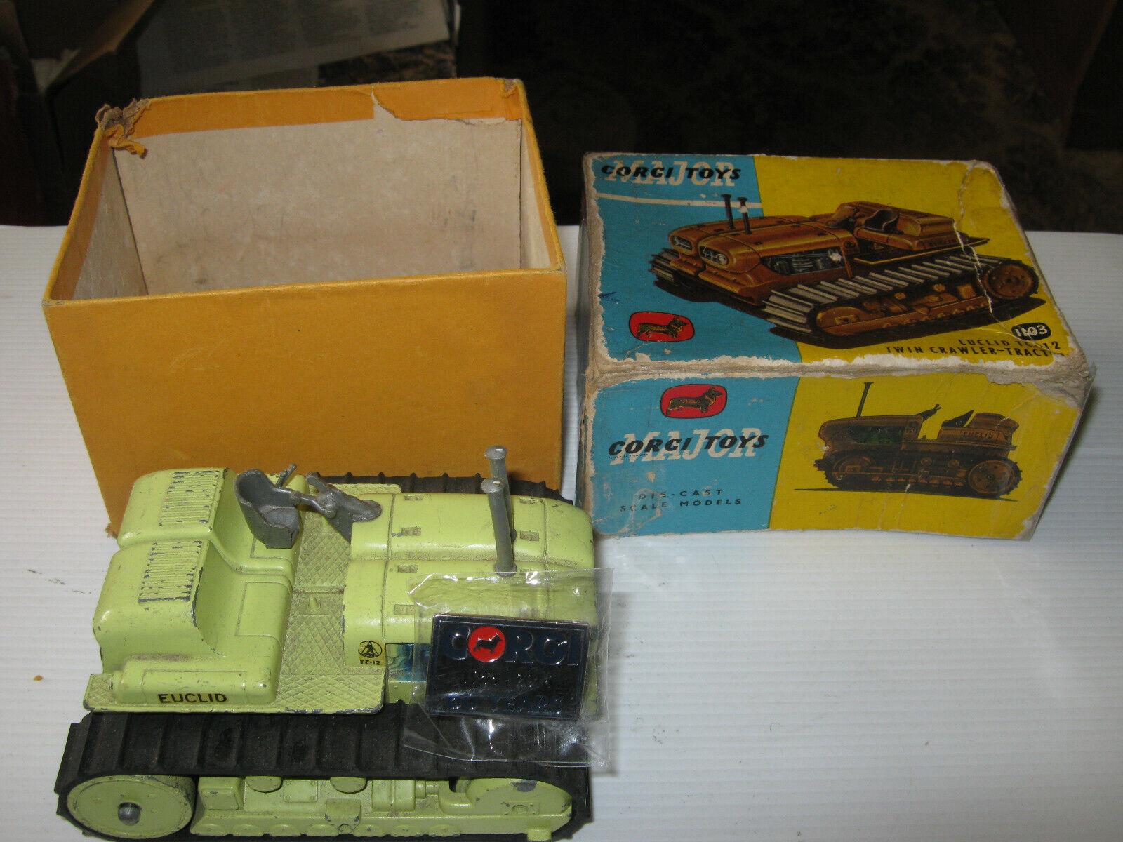 Tractor oruga de Corgi 1103 Euclid Twin Muy Buena Original en edad Usado Caja Orig.