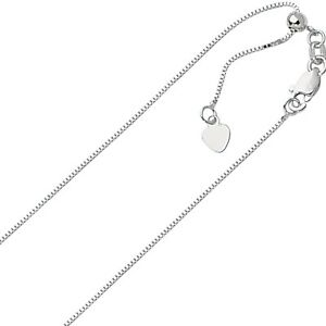 70mm-Solid-Adjustable-Box-Chain-Necklace-REAL-14K-White-Gold-Up-To-22-034-2-2gr