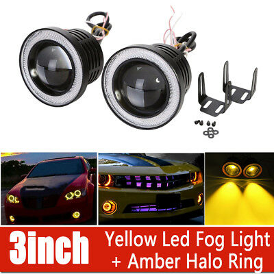 2X 3inch 3200Lm Round Amber LED Projector Fog Light w// Red Angel Eyes Halo Ring