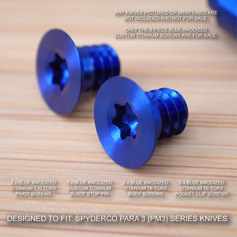 Spyderco Paramilitary Para 3 PM3 Custom Blau Blau Custom Titanium Blade Stop Pin & Screw Set 6cdbe3