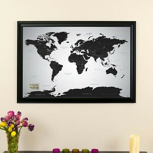 Black ice world travel map with pins great wedding gift track image is loading black ice world travel map with pins great gumiabroncs Image collections
