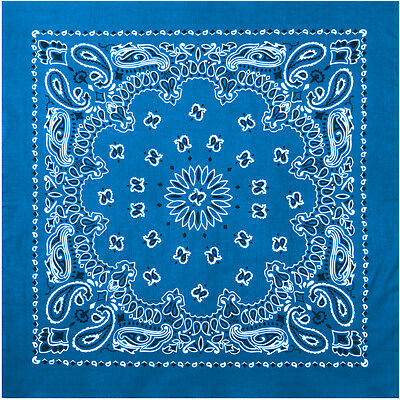 "Royal Blue Trainmen Cotton Paisley Biker Sport Bandana 27"" x 27"""