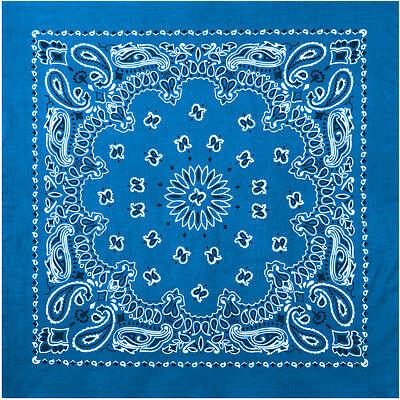 """Royal Blue Trainmen Cotton Paisley Biker Sport Bandana 27"""" x 27"""""""
