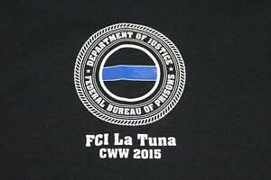 Dept of Justice Bureau of Prisons FCI LaTuna Memorial XXL black t shirt