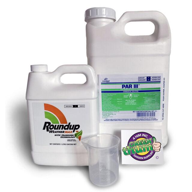 Par 3 Herbicide 4L Jug & 1L Round Up.
