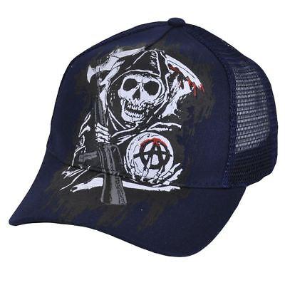 Stil; Gutherzig Sons Of Anarchy Snapback Netz Aufdruck Tv Show Fear The Reaper Skulls Blau Kappe Modischer In