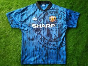 MANCHESTER UNITED 1992/1993 M SIZE UMBRO AWAY FOOTBALL SHIRT JERSEY EXCELLENT