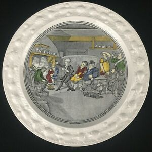 VTG-Luncheon-Plate-Adams-China-Doctor-Syntax-Reading-His-Tour-Ironstone-England