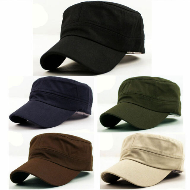 Fashion New Plain Vintage Army Military Cadet Style Cotton Cap Hat Adjustable
