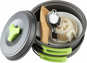Camping Cookware Mess Kit 1 Liter Backpacking Gear & Hiking Outdoors Bug Out Bag