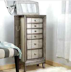 Jewelry Armoire Chest Silver White Wood Box Tall Vintage