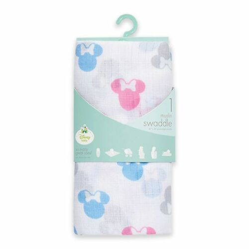 Minnie Mouse Muslin Swaddle Blanket NWT Baby Girl Disney Baby