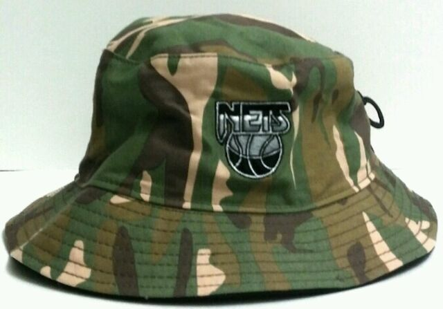 a21e8907 Brooklyn Nets NBA Hardwood Classics 47 BRAND Woodland Camo Bucket ...