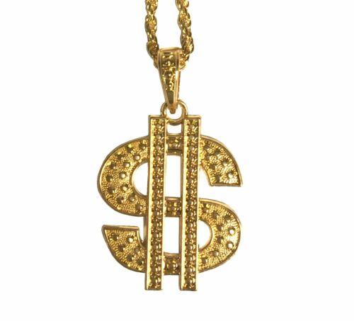 Schwere Gold-Kette mit großem Dollar Zeichen Rapper Zuhälter Scheich Dandy Pimp