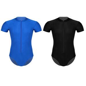 Herren-Kurzarm-Body-Bodysuit-Stringbody-Unterhemd-Unterwaesche-mit-Reisverschluss