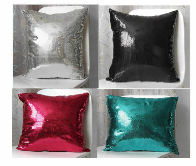 Sequins Decoration Cushion Comfortable Pillow Covers Cases Throw Sofa 42x42cm